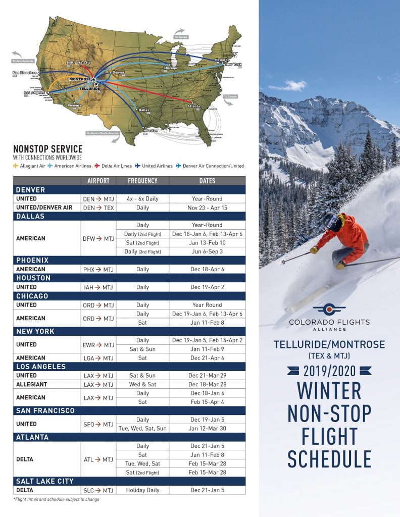 Winter 2019-2020 Flight Schedule